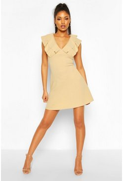 Stone Frill Neck Skater Dress