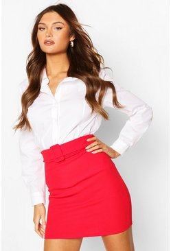 Red Self Fabric Belt Mini Skirt
