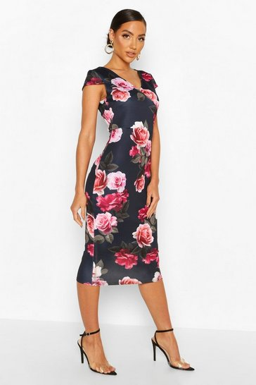 Navy Floral Cap Sleeve Midi Dress
