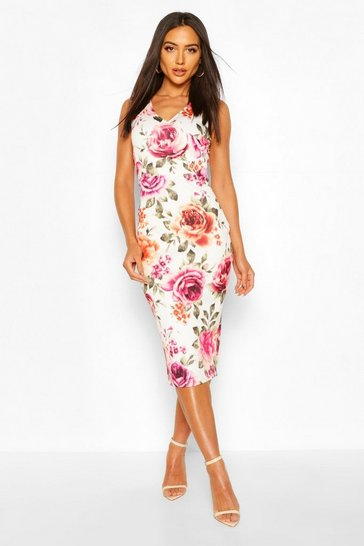 Cream Floral Sleeveless Midi Dress