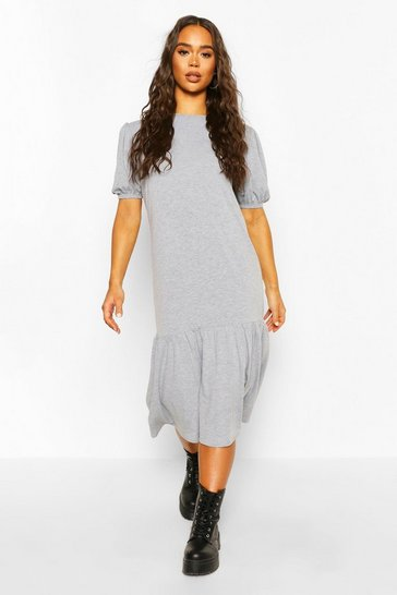 Grey marl Puff Sleeve Drop Hem Midi Dress