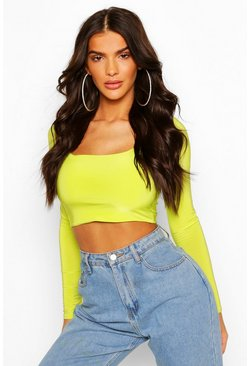 Lime Double Layer Slinky Long Sleeve Crop Top