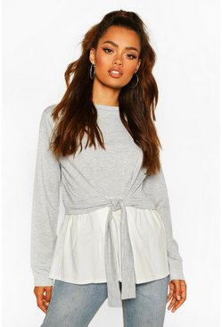 Grey marl Tie Front Contrast Long Sleeve Top