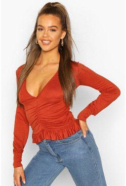 Terracotta Ruched Long Sleeve Crop Top