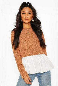 Tan Boucle High Neck Shirt