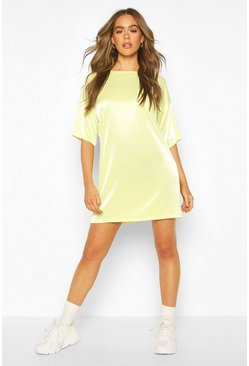 Lime High Shine Oversized T-Shirt Dress