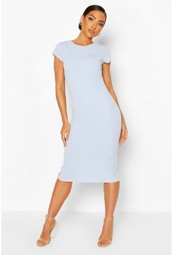 Powder blue Ruche Side Midi Dress