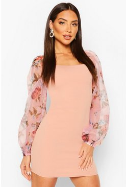 Pink Blurry Floral Organza Sleeve Mini Dress