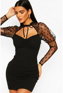 Black Dobby Mesh Puff Sleeve Mini Dress