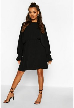 Black Elasticated Cuff & Waist Skater Dress
