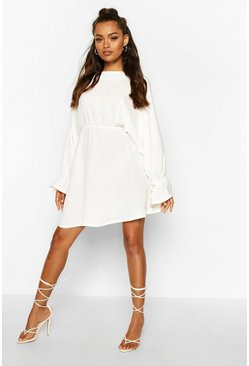 White Elasticated Cuff & Waist Skater Dress