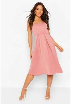 Robe patineuse midi bandeau grandes occasions, Rose fleur