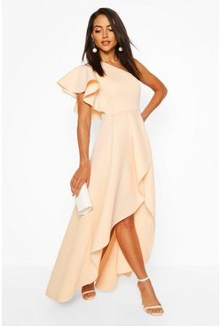 Blush One Shoulder Ruffle Skater Maxi Dress