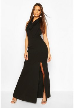 Black Cowl Neck Halter High Split Maxi Dress