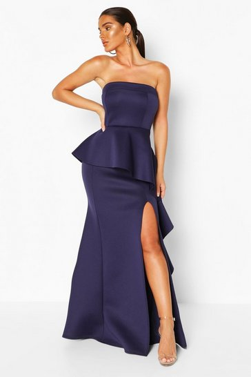 Navy Bandeau Peplum Ruffle Detail Maxi Dress