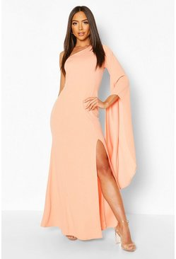 Apricot One Shoulder Cape Detail Maxi Dress