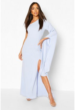 Powder blue One Shoulder Cape Detail Maxi Dress