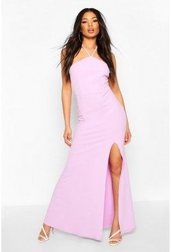 Lilac Strappy Back Split Front Maxi Dress