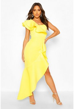 Yellow One Shoulder Ruffle Detail Maxi Dress