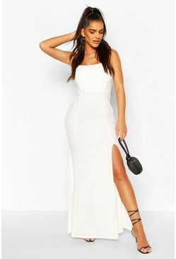 Ivory Shaped Bandeau Thigh Split Maxi Dress