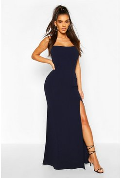 Navy Shaped Bandeau Thigh Split Maxi Dress