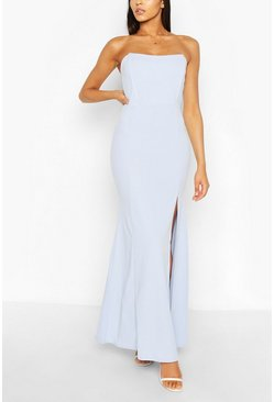 Pastel blue Shaped Bandeau Thigh Split Maxi Dress