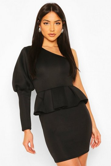 Black One Shoulder Puff Sleeve Peplum Mini Dress