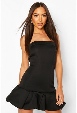 Black Puff Ball Bandeau Mini Dress