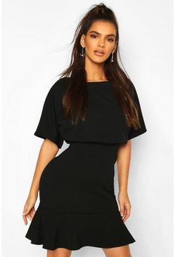 Black Blouson Peplum Hem Skater Dress