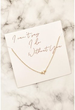 Gold Bridesmaid Wishbone Bracelet On Giftcard