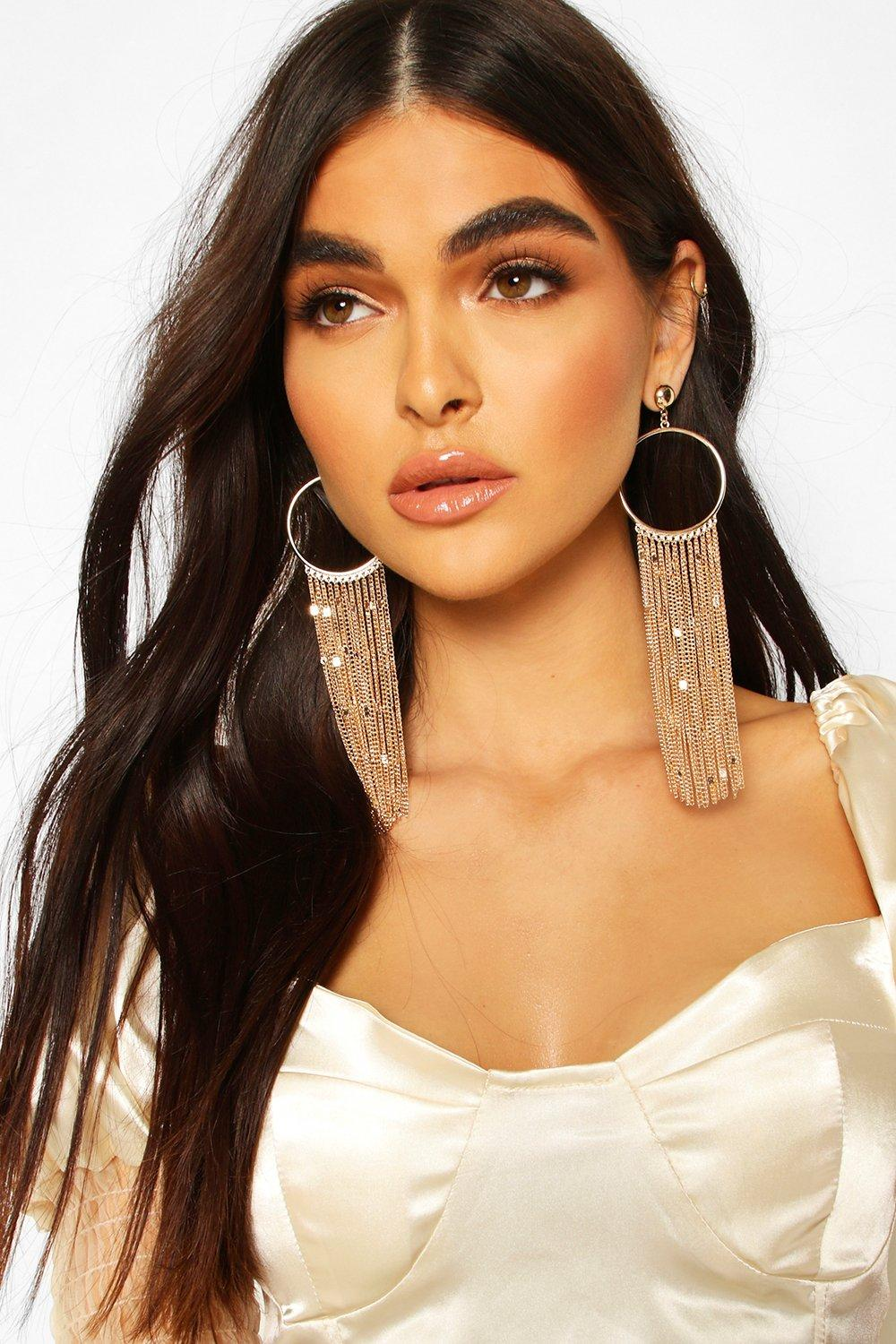 womens ring and chain tassel statement earrings - metallics - one size