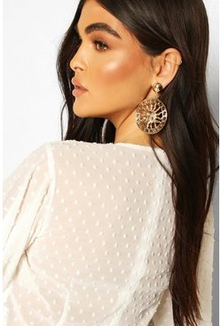 Gold Statement Sun Earrings