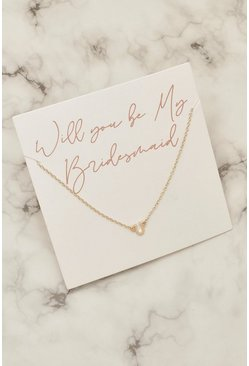 Collier sur carte cadeaux Bridesmaid, Or