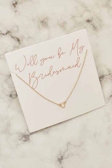 Gold Bridesmaid Horseshoe Necklace On Giftcard