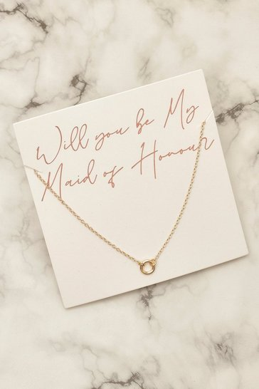 Gold Maid of Honour Ring Necklace on Giftcard
