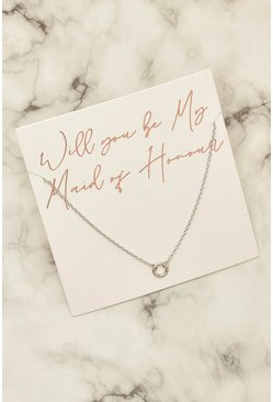 Silver Maid of Honour Ring Necklace on Giftcard