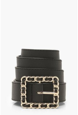Black Square Woven Buckle Belt