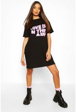 Black Love Is In The Air T-Shirt Dress