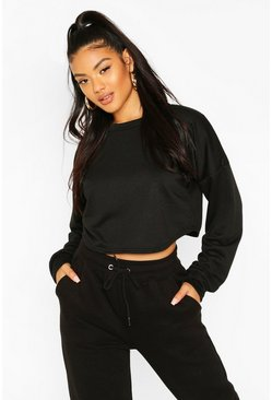 Black Crop Oversized Sweat