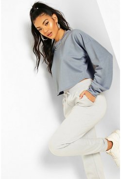 Pastel blue Crop Oversized Sweat