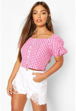 Pink Woven Gingham Button Through Top