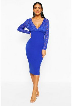 Cobalt Long Sleeve Lace Top Midi Dress