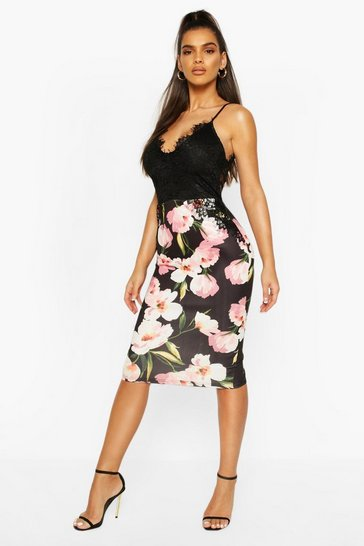 Black Lace Top Floral Printed Midi Skirt Dress