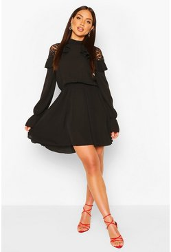 Black Lace Shoulder Ruffle Detail Skater Dress