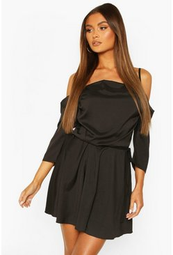 Black Cowl Neck Cold Shoulder Skater Dress