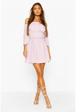 Lilac Cowl Neck Cold Shoulder Skater Dress