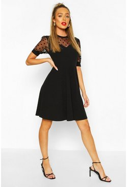 Black Soft Rib & Spot Mesh Frill Detail Skater Dress