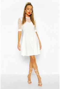 White Soft Rib & Spot Mesh Frill Detail Skater Dress
