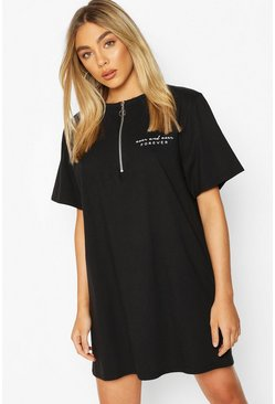 Black Zip Detail Short Sleeve Embroidered T-shirt Dress