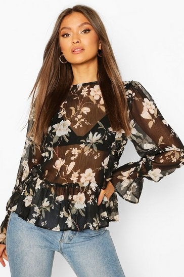 Black Sheer Floral Ruffle Blouse